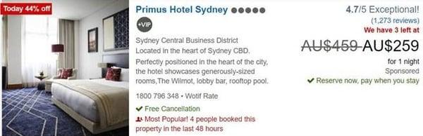 Primus Hotel Sydney travelad screenshot