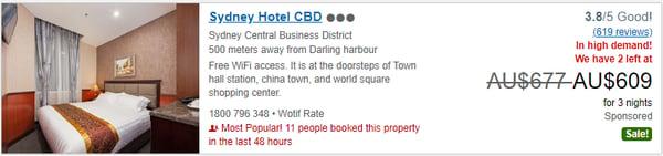 Sydney Hotel CBD travelad screenshot