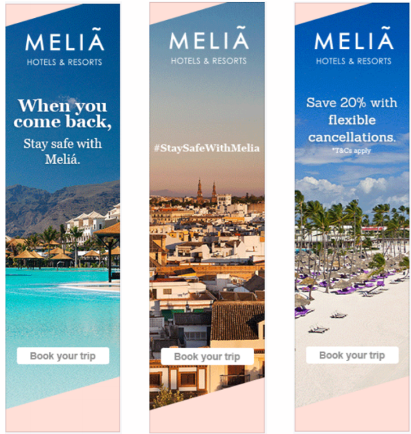 Melia Travel Advertising example of pandemic ad creative that works