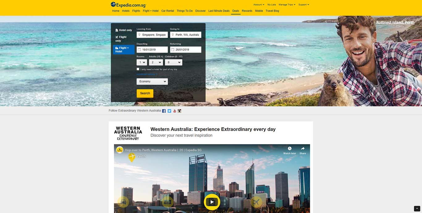 Western Australia Expedia page