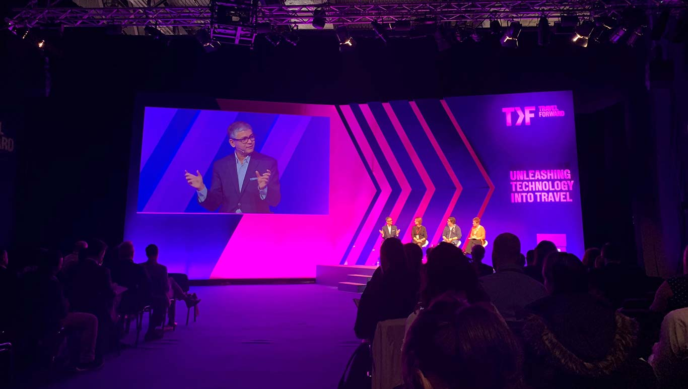 Hair Nair speaking from the stage at WTM's Travel Forward 2018